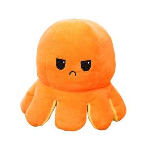 Adorable giant reversible octopus soft toy   Yellow & Orange