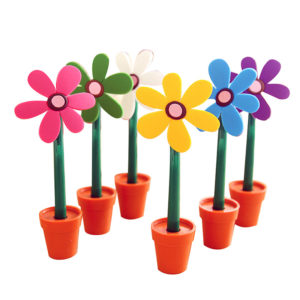 Lot of 6 colorful flower pens with its pot